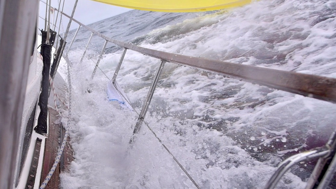 Nauticat 441 broaching with gennaker