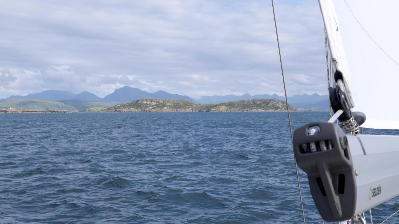 Suwena sailing towards Loch Ewe in Scotland
