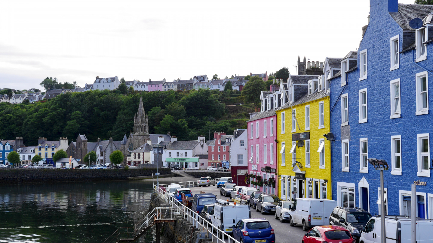 Colorful waterfront of Tobermory on the Isle of Mull