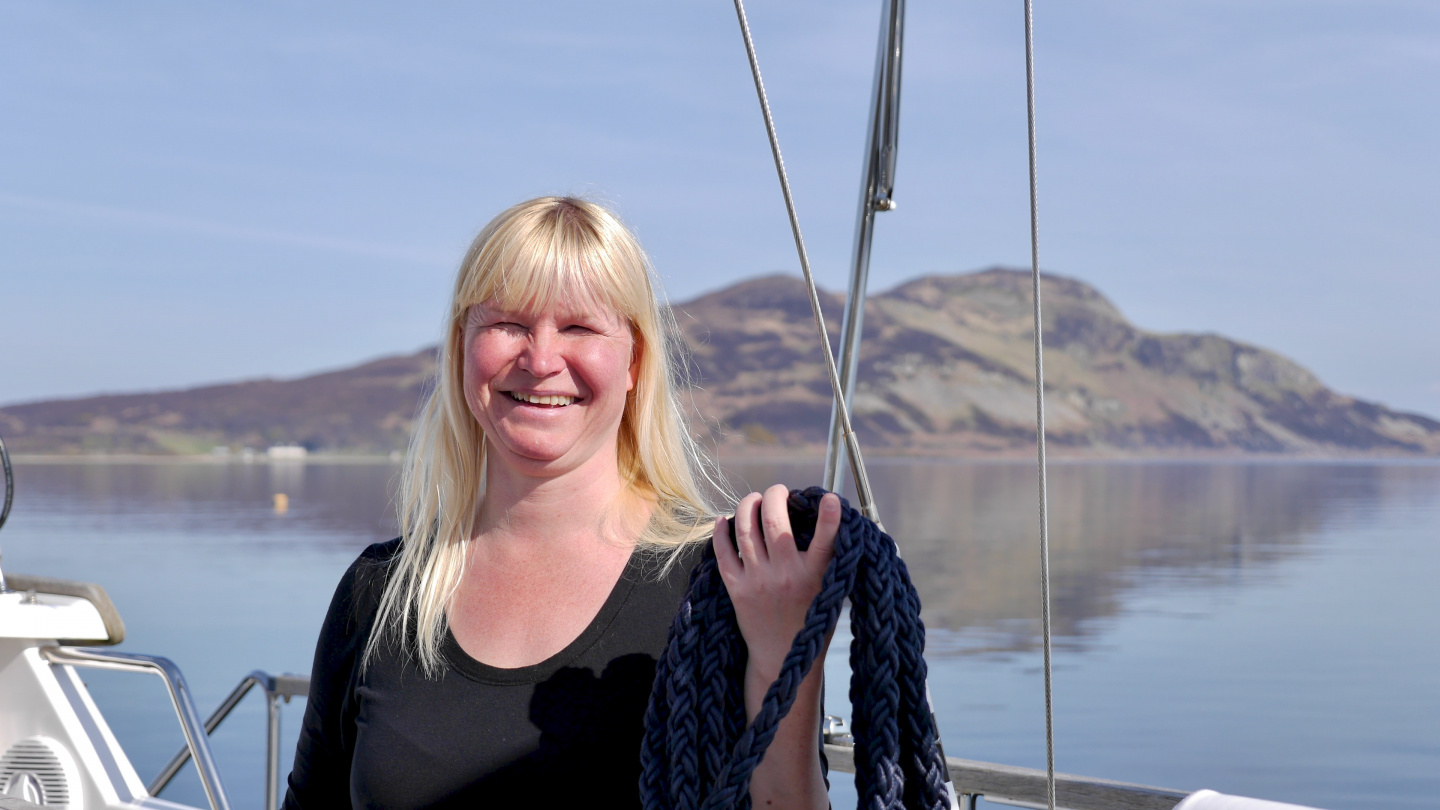 Eve coiling a line at Lamlash Bay
