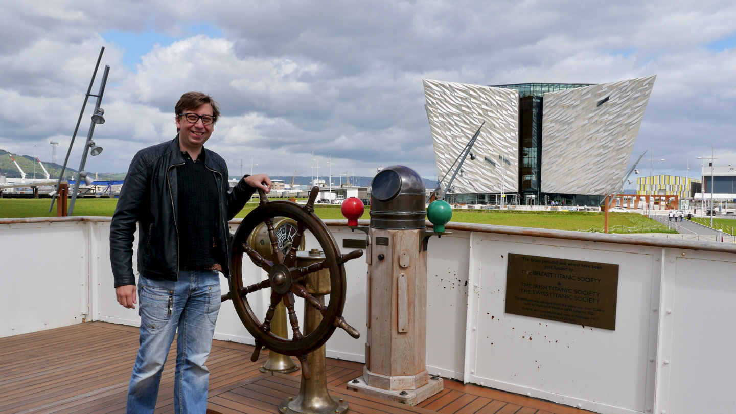 Andrus in the helm of S/S Nomadic in the Titanic Centre of Belfast