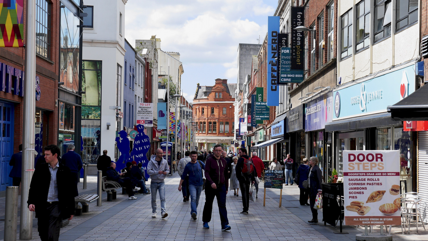 Shopping street in Belfast