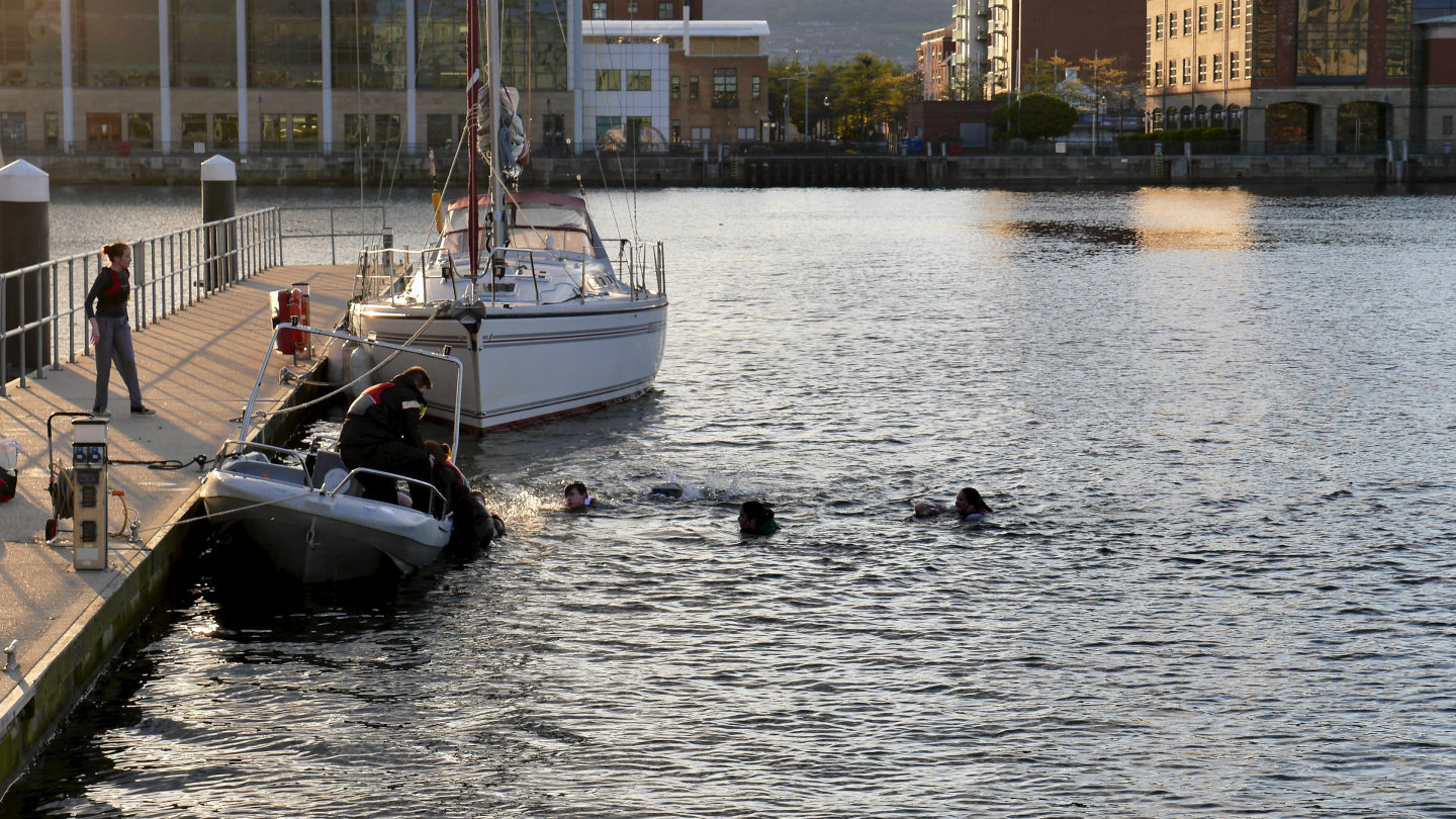 Belfast Sea Cadets in swimming test