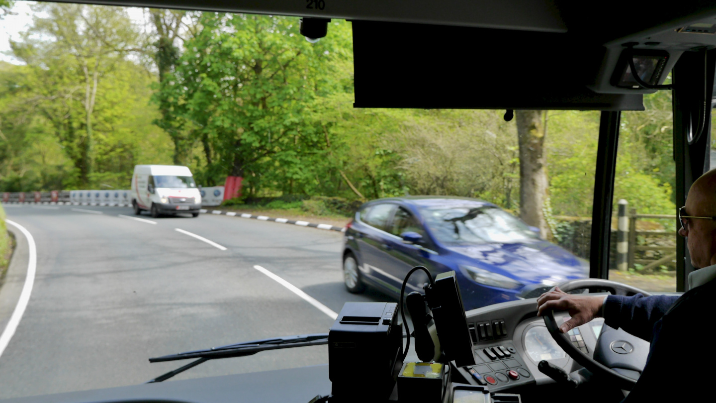By bus on the TT racecourse on the Isle of Man