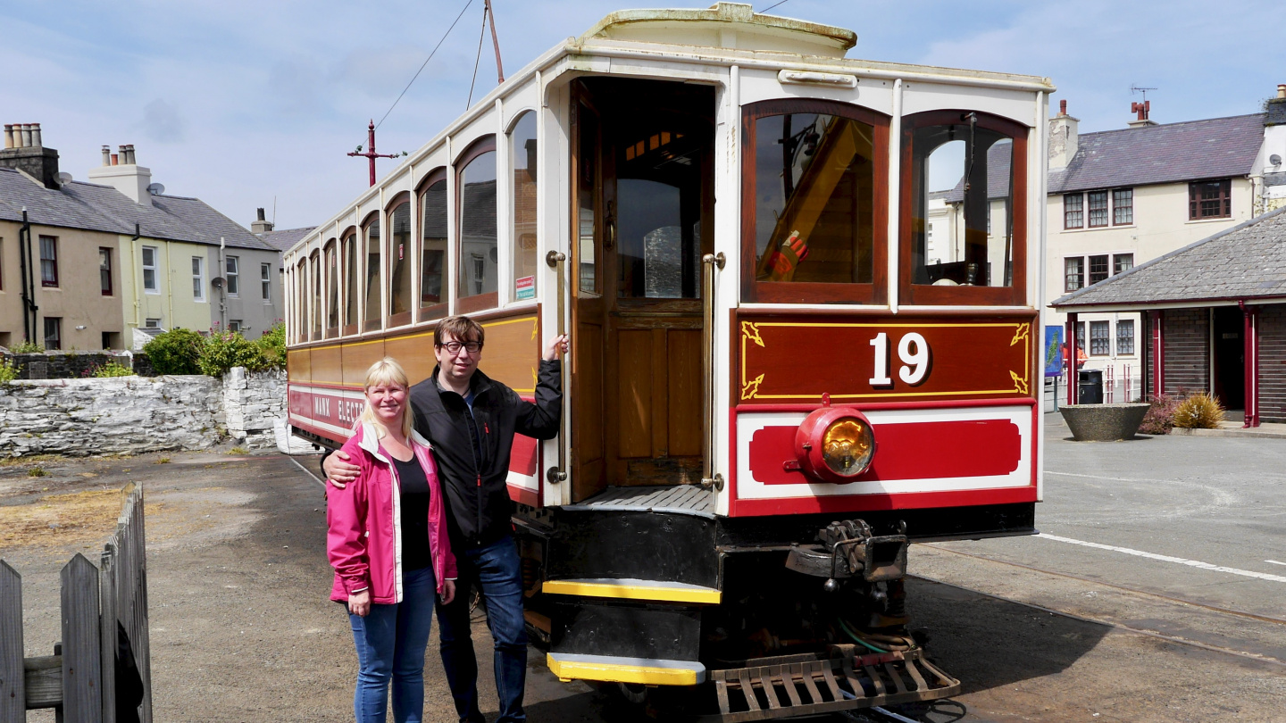Eve and Andrus going to tram journey on the Isle of Man