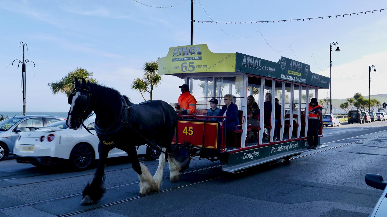 Horse drawn tramcar in Douglas