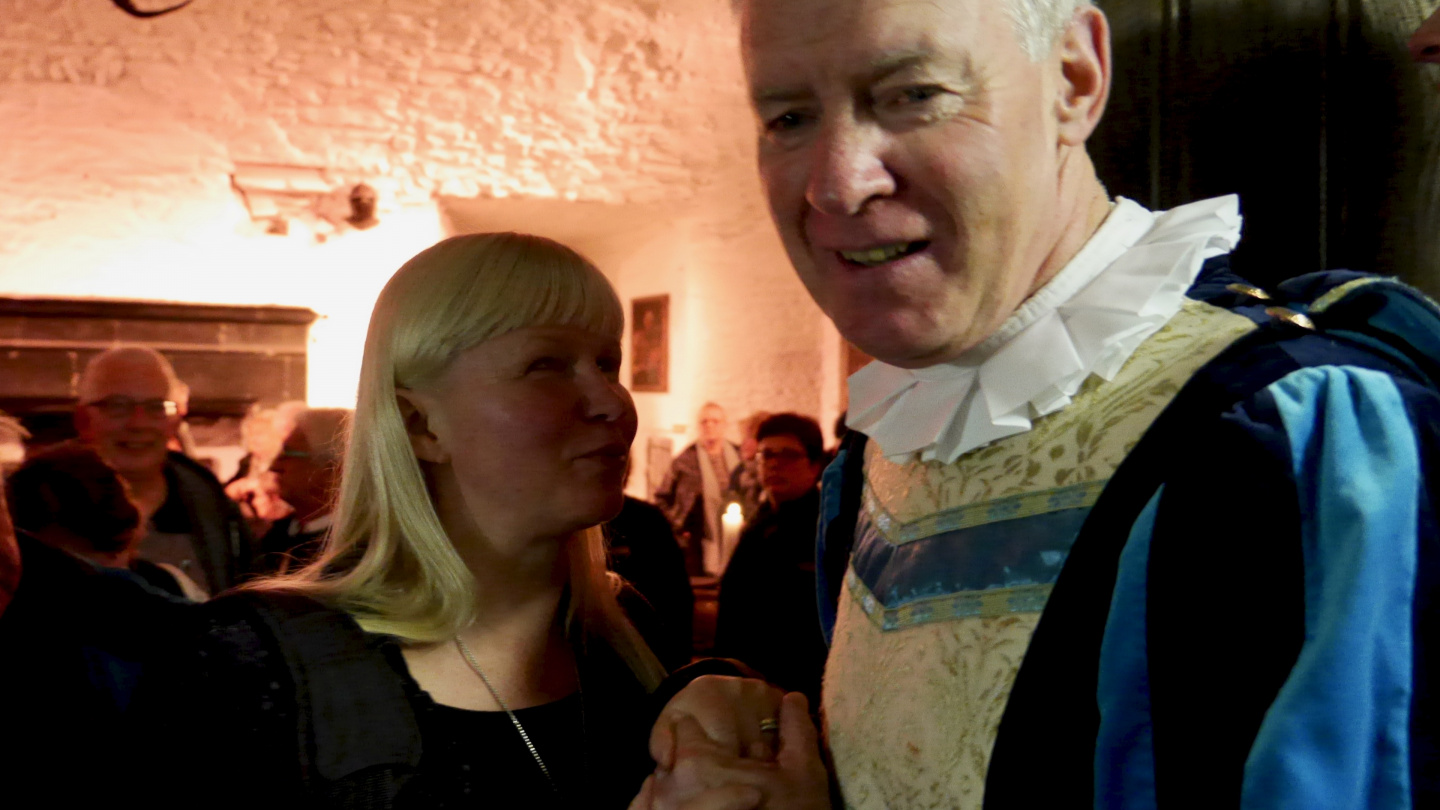 Eve and butler Jim at the medieval feast in Bunratty Castle