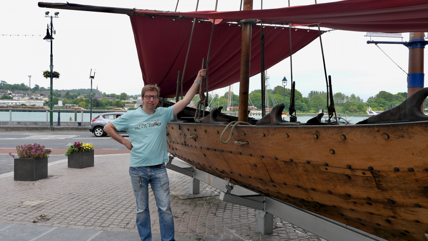 Andrus and Viking boat in Waterford, Ireland