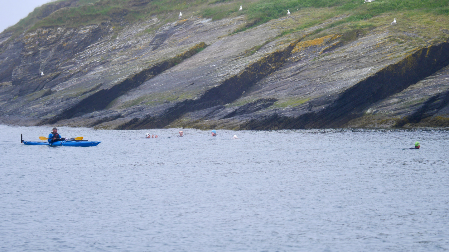 Open water swimmers on Sandycove in Ireland