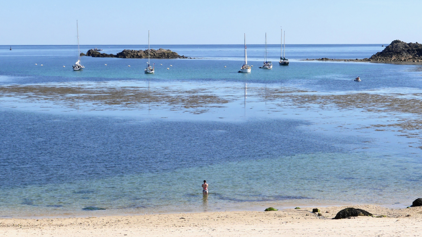 Bay of Portcressa on the southern side of Hugh Town on the Isles of Scilly
