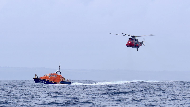 RNLI training mission near Lizard on the English Channel