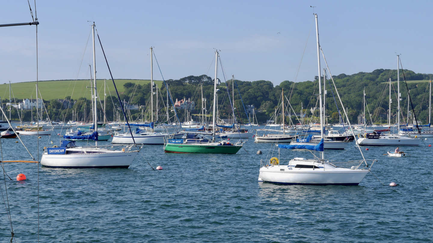Boats moored in front of Falmouth