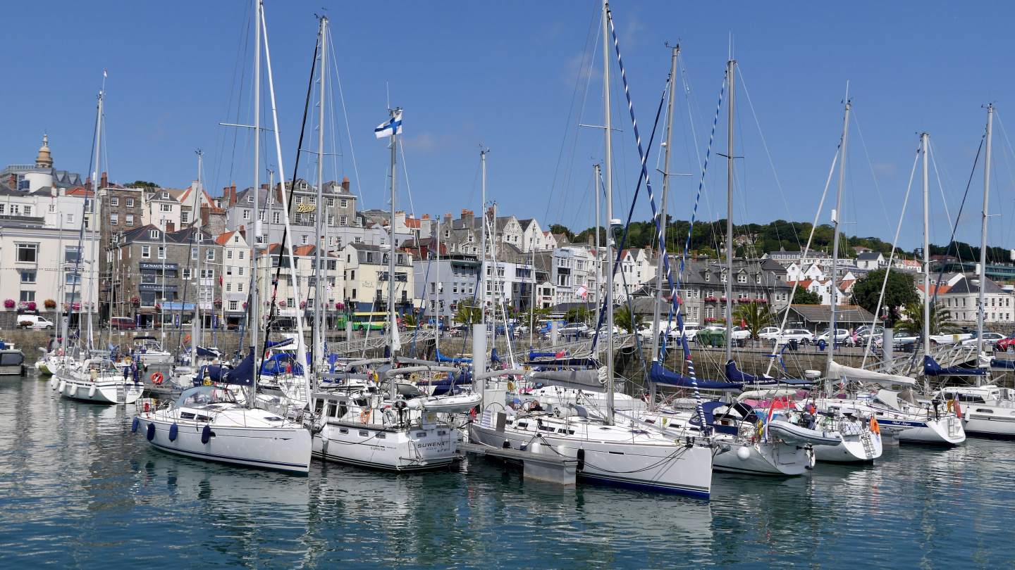 Suwena in the marina of St Peter Port, Guernsey