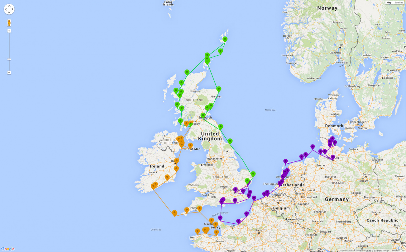 Suwena's sailing route around the UK