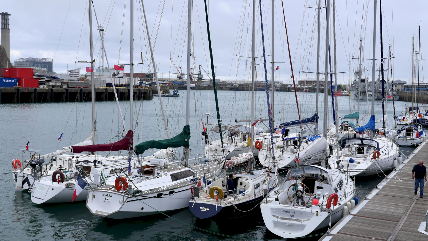 Waiting pontoon of Saint Helier marina in Jersey