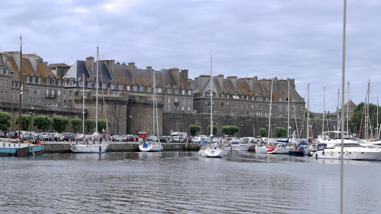 Boats arriving to the Bassin Vauban marina in Saint-Malo