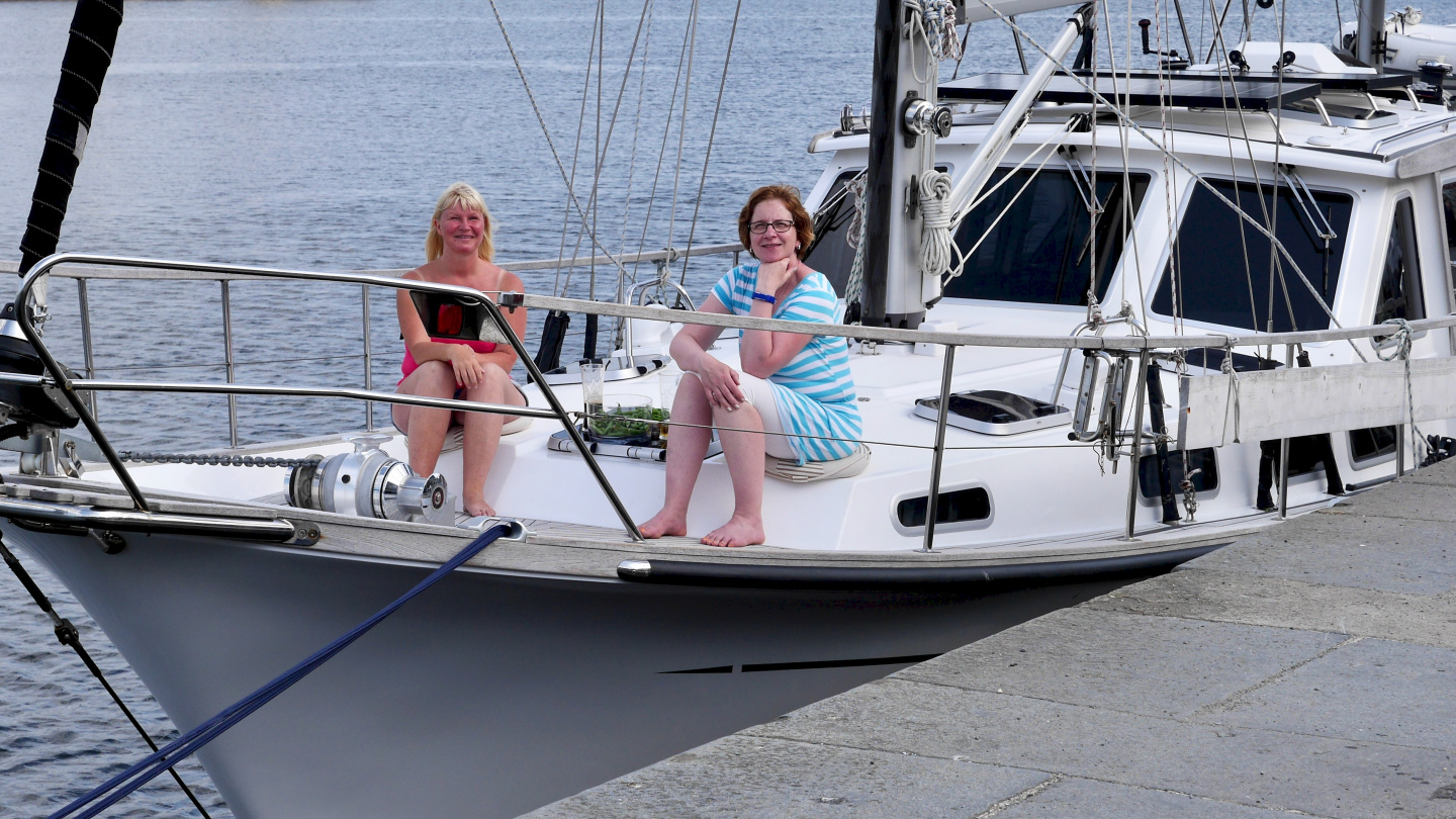 Eve and Merja on the deck of Suwena in St Malo
