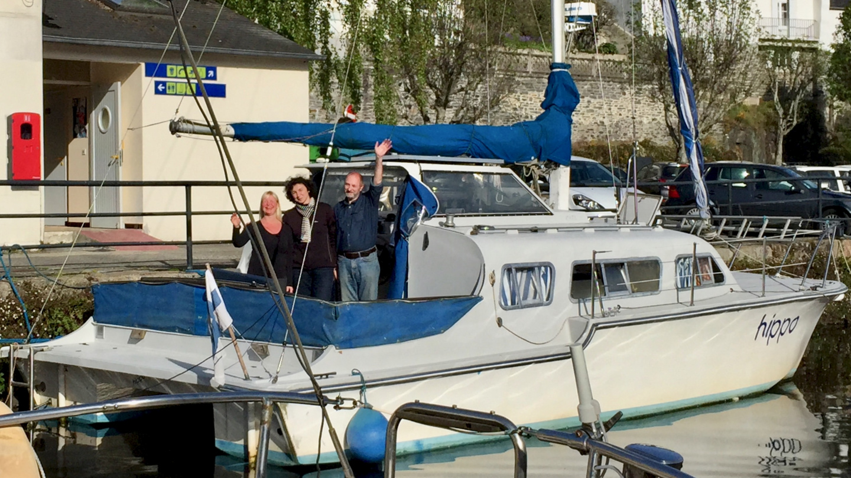 Eve, Irina and Ilya onboard Hippo in Morlaix