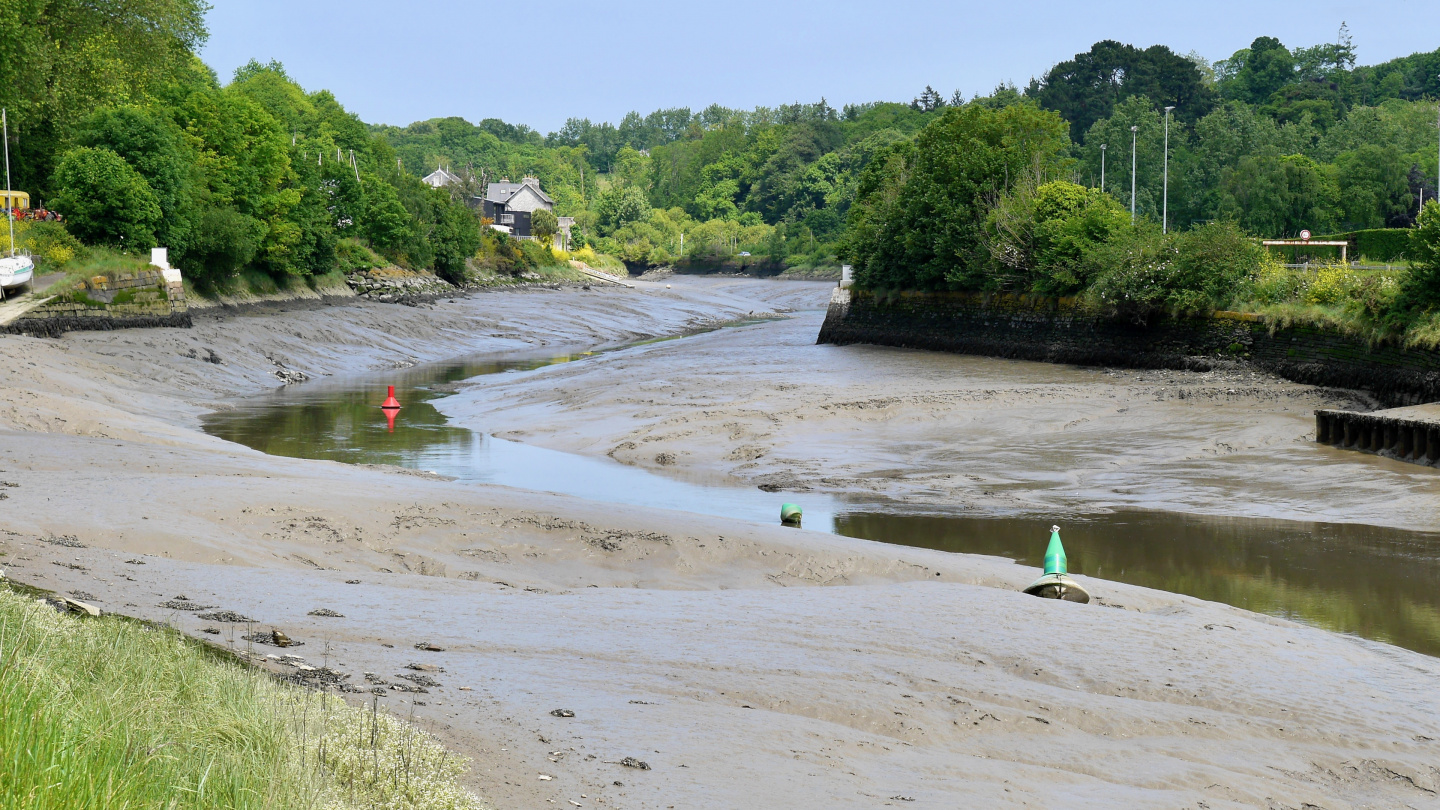 The river Morlaix at low water in Brittany