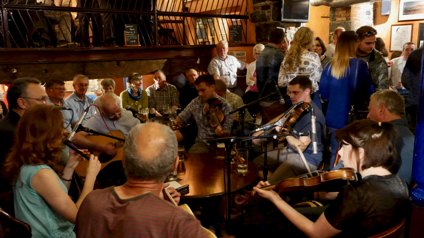 The session in the Cock & Bull pub in St Peter Port, Guernsey