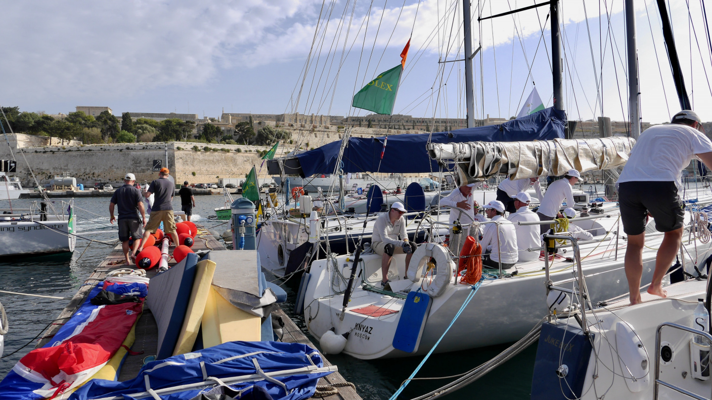 Yachts preparing to Rolex Middle Sea Race