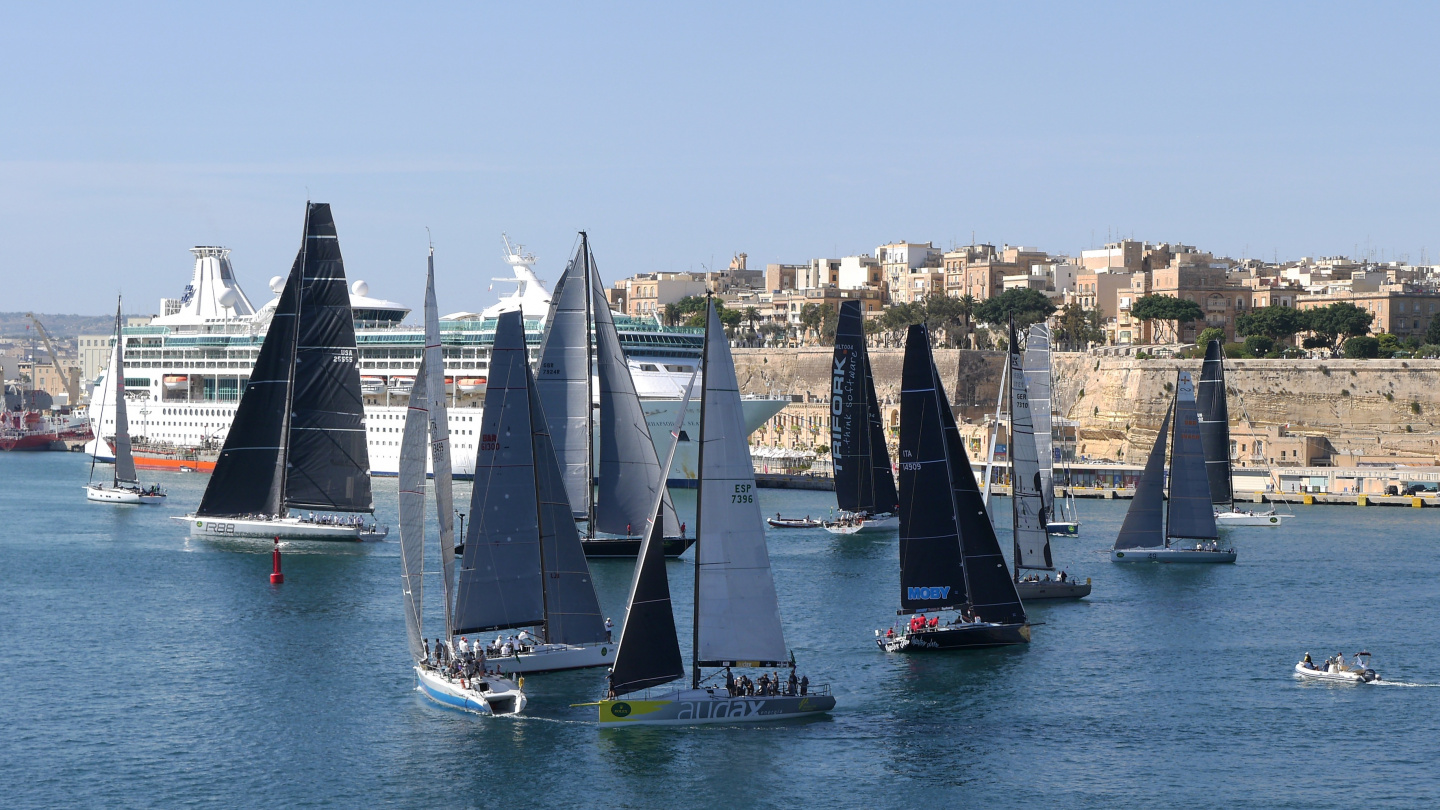 Yachts preparing to the start of Rolex Middle Sea Race