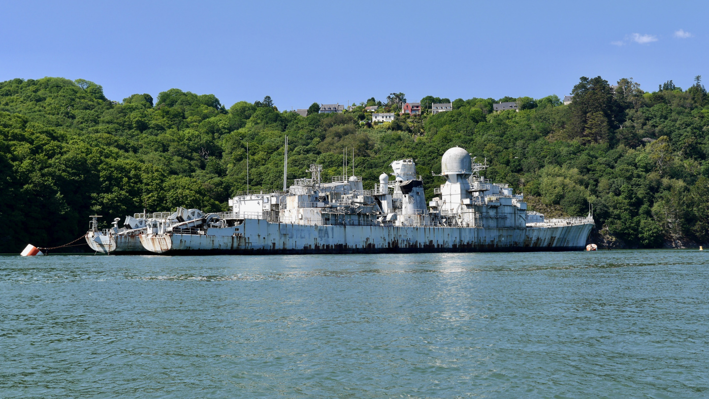 Military ship graveyard on the river L'Aulne in Brittany