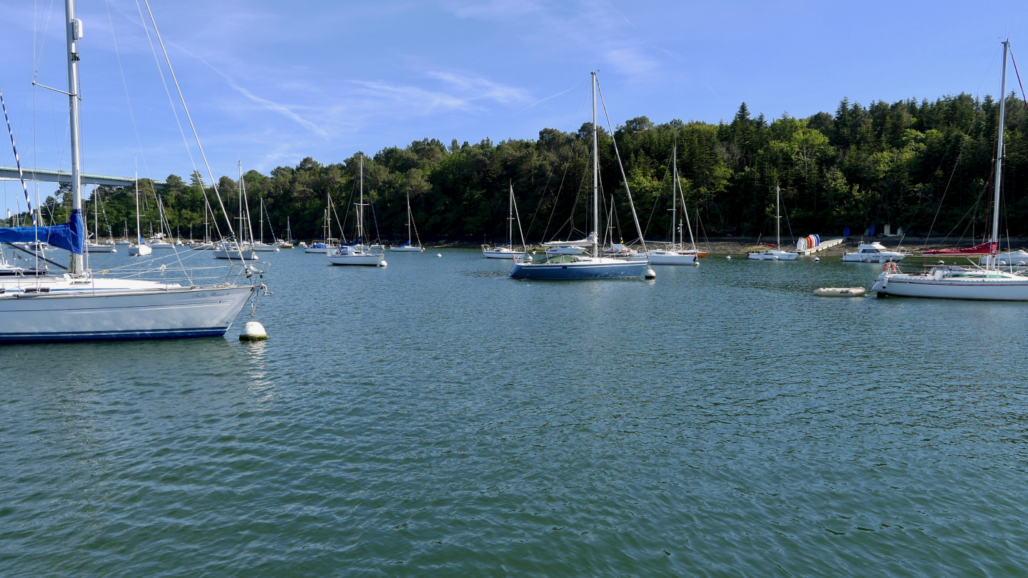 The anchorage of Sainte-Marine on the river Odet in Brittany