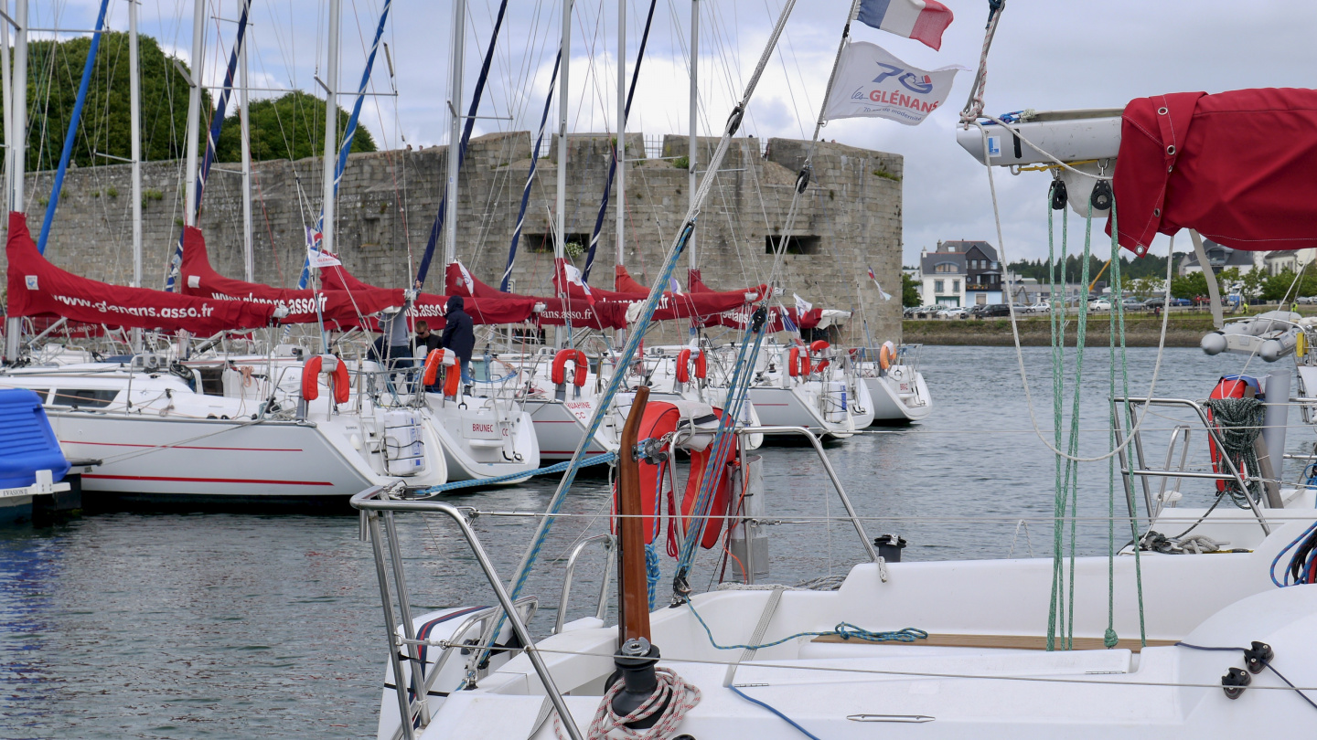 The yachts of Glénan's sailing school in Concarneau, Brittany