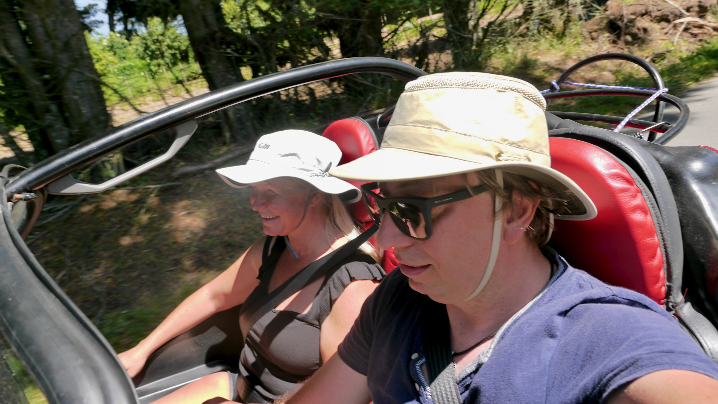 Eve and Andrus driving on the island of Belle-Île in Brittany