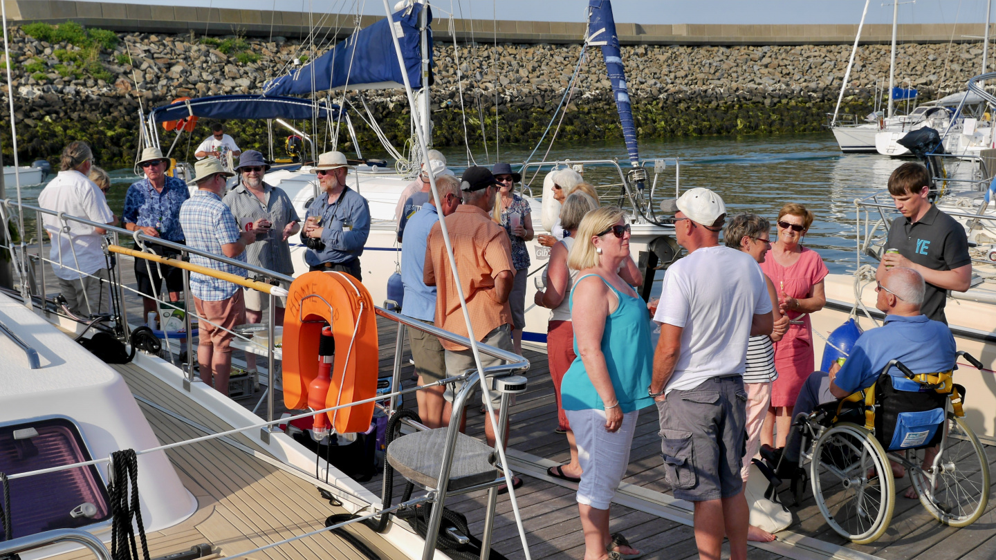 The pontoon party of The Cruising Association on the island of Yeu in France
