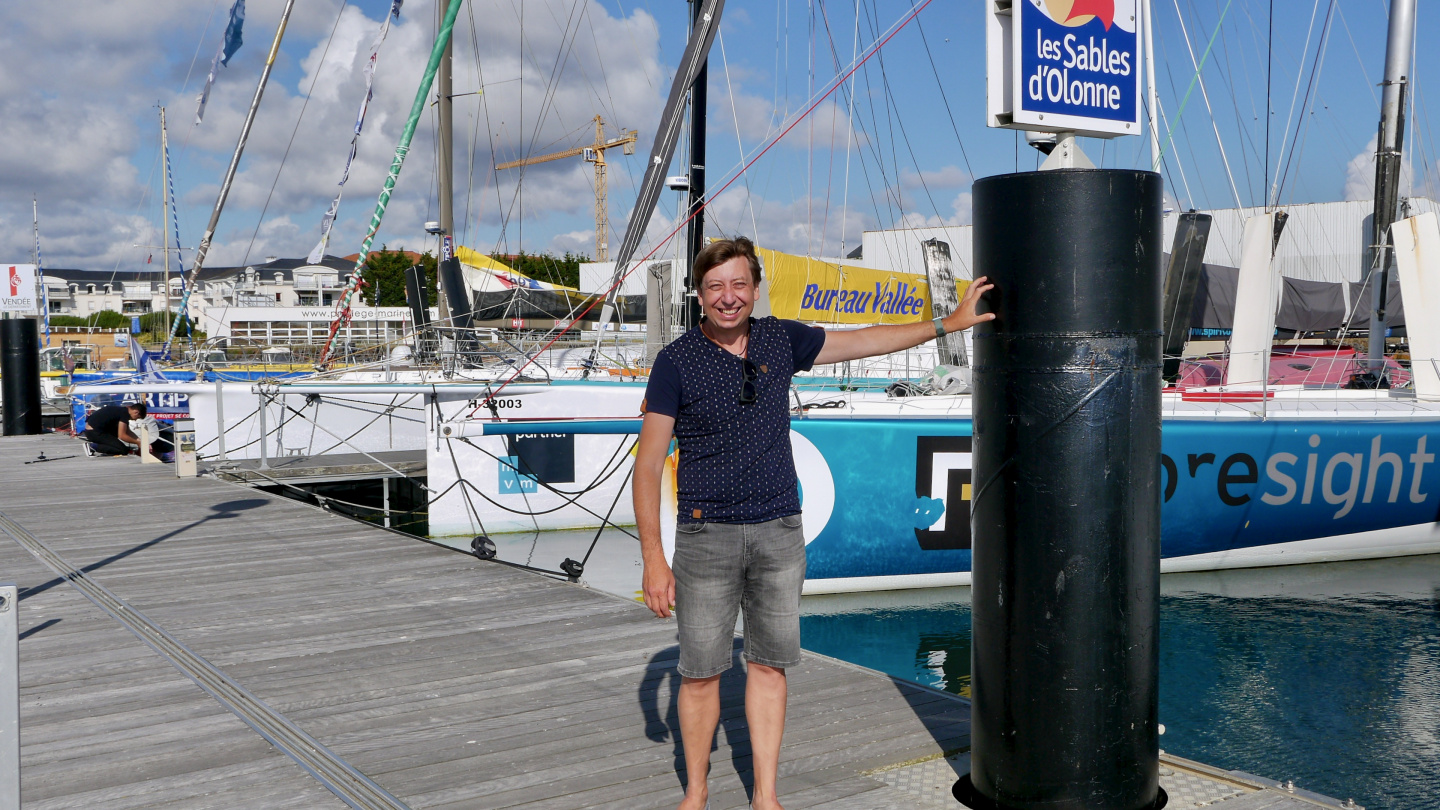 Andrus on the pontoon of Vendée Globe race in Les Sables d'Olonne in France