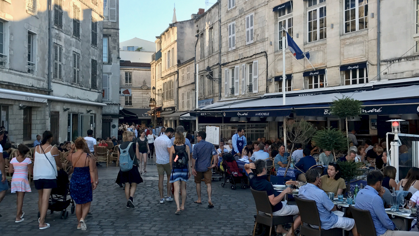 The restaurant alley in the old town of La Rochelle