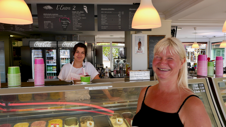 Eve having an ice cream in La Rochelle, France