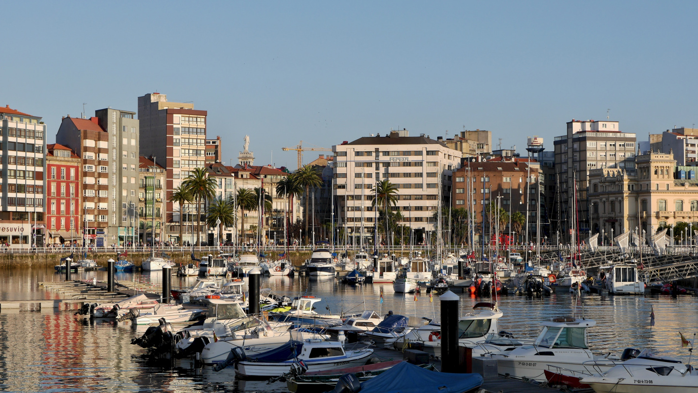 The waterfront of Gijon in Spain