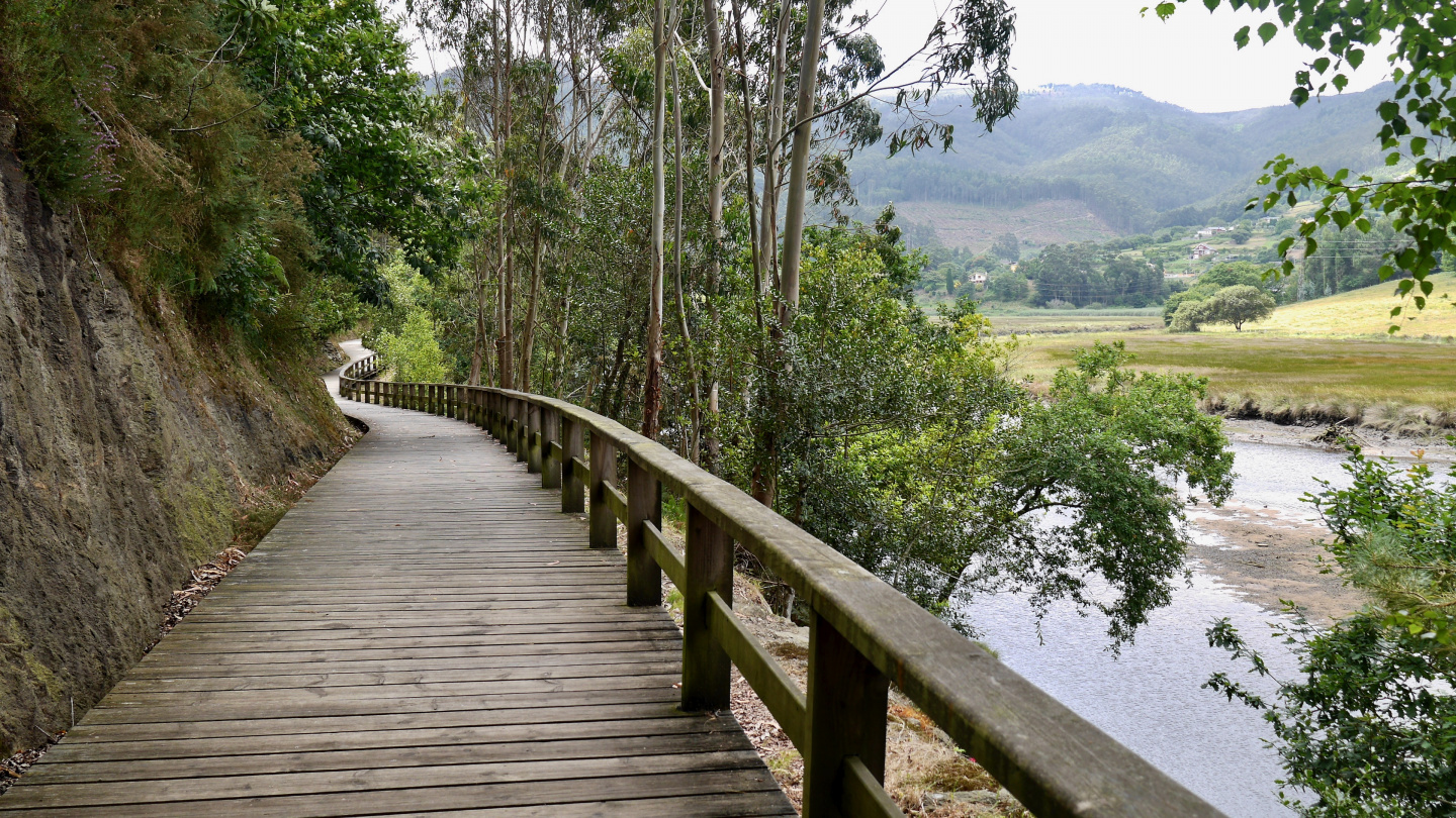 Footpath along the river Landro in Viveiro in Spain