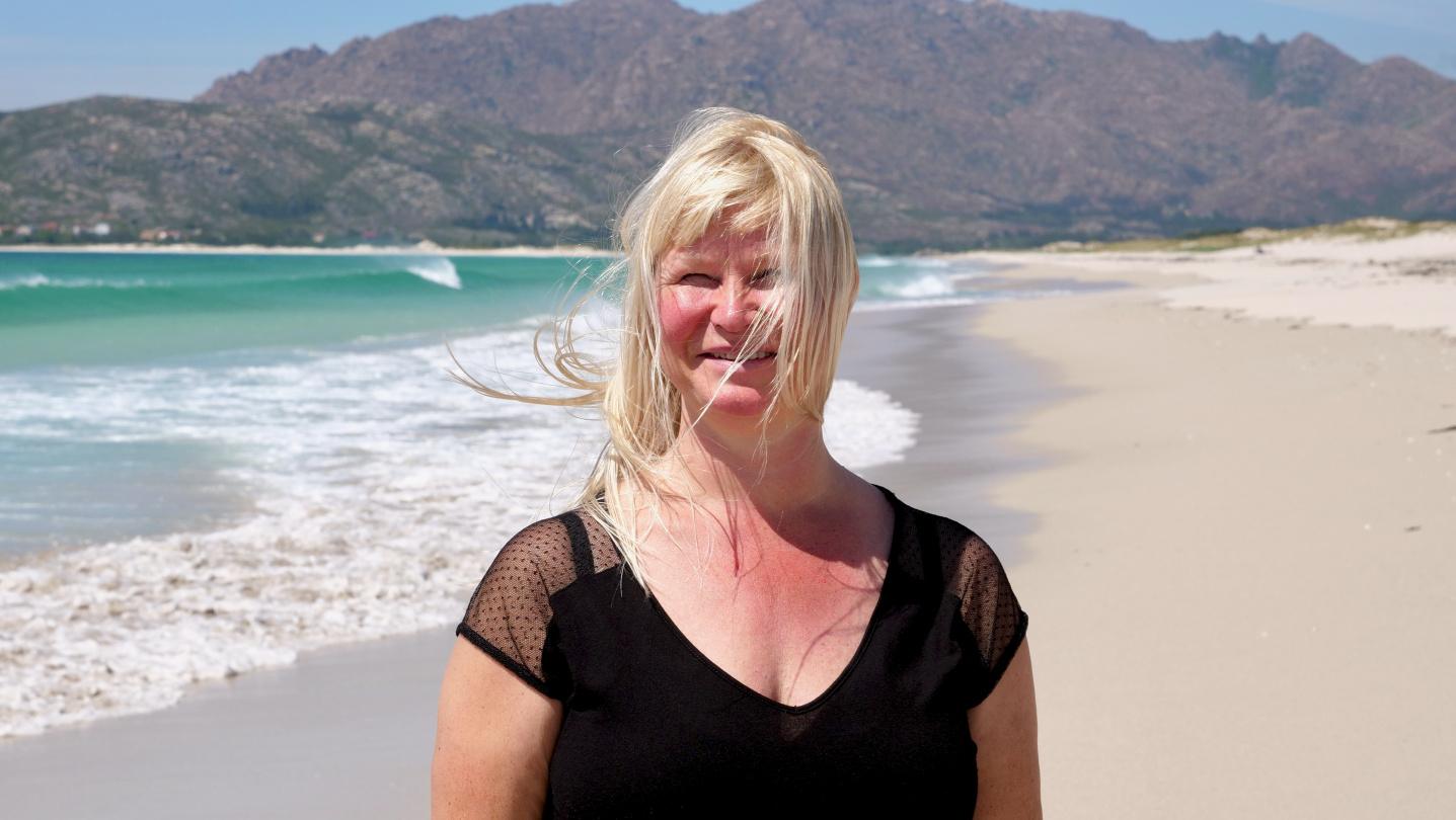 Eve at the beach of Playa de Carnota in Galicia