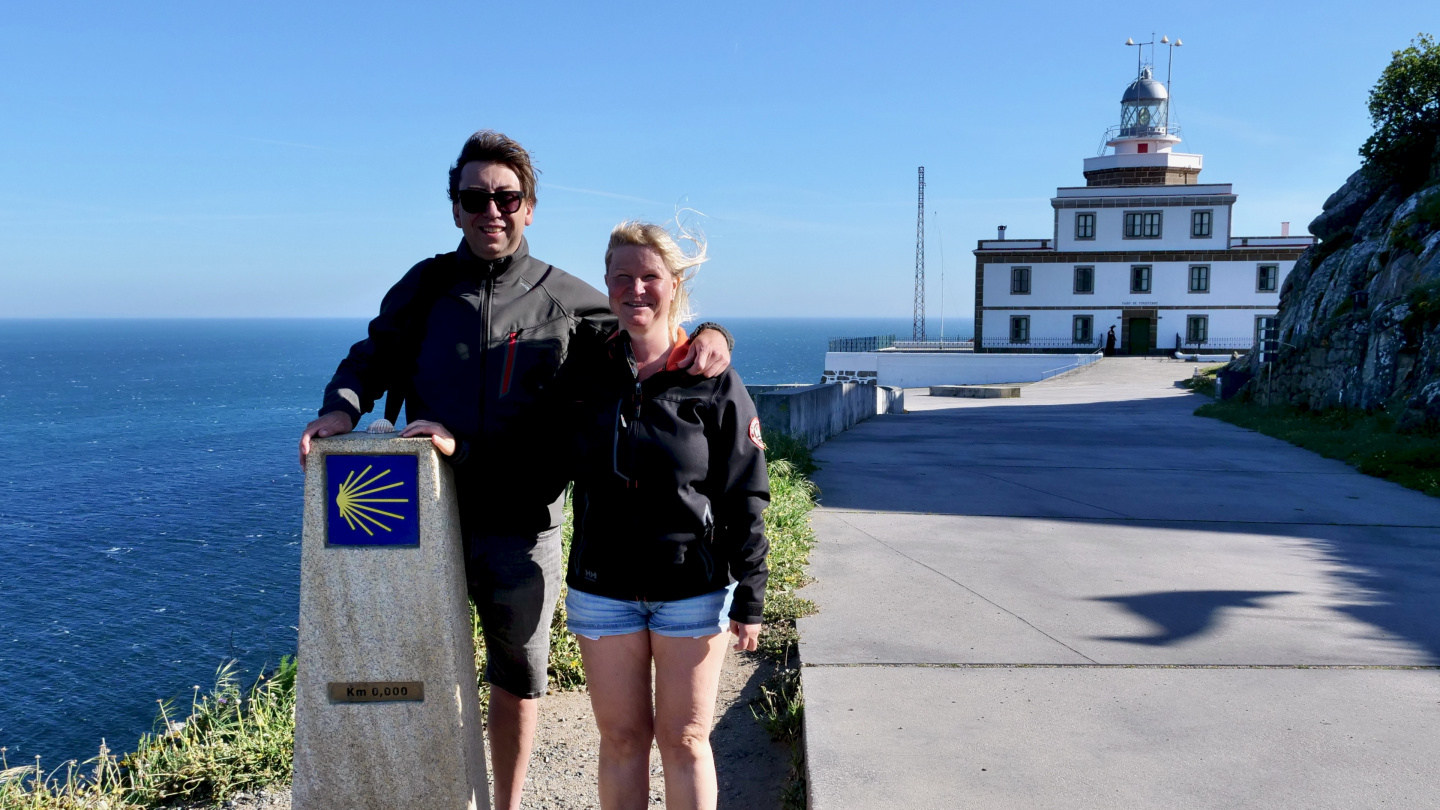 Andrus and Eve at the end of Camino de Santiago in Galicia