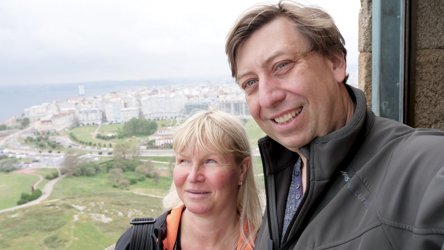 Eve and Andrus in the lighthouse of Hercules in A Coruña, Galicia