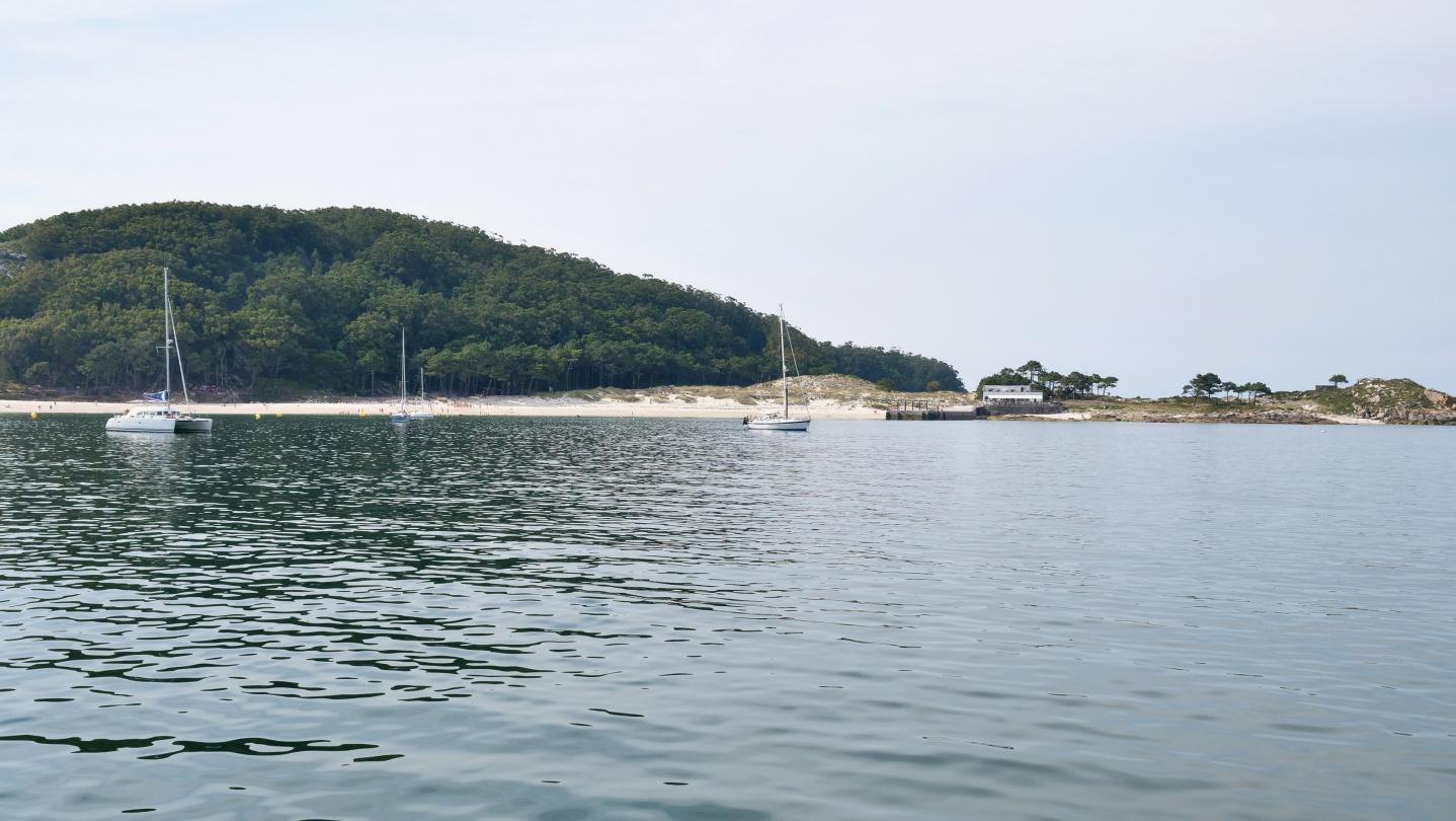 The anchorage of Praia das Rodas in Cíes, Galicia