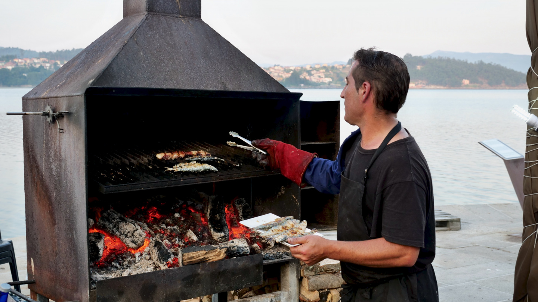 Grilled sardines in Combarro, Galicia