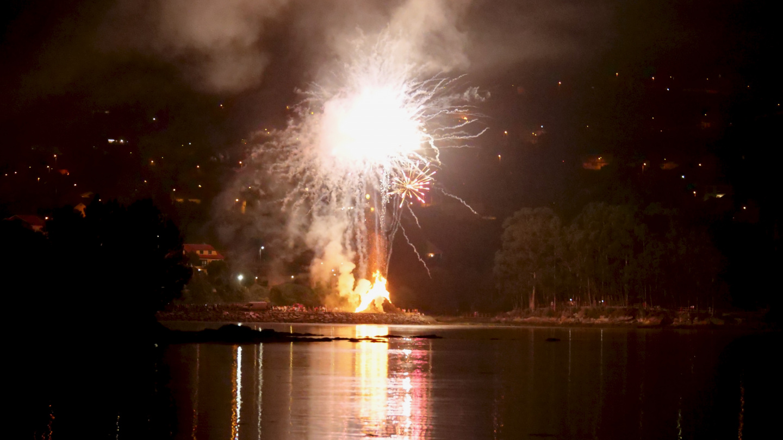 Midsummer San Xoán fireworks in Ría de Pontevedra, Galicia