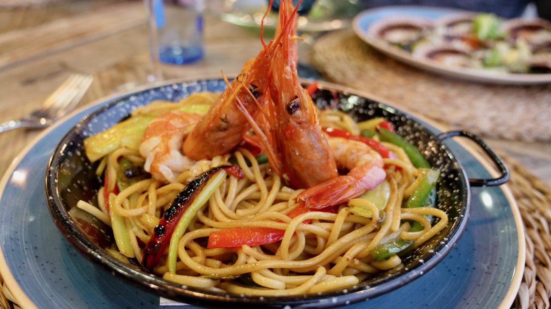 Delicious prawn pasta in restaurant Sisal, Caramiñal, Galicia